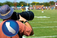 california map icon and a sporting event photographer