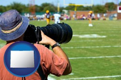 colorado map icon and a sporting event photographer
