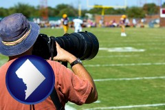washington-dc map icon and a sporting event photographer