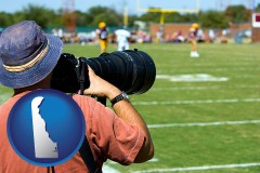delaware map icon and a sporting event photographer