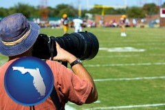 florida map icon and a sporting event photographer