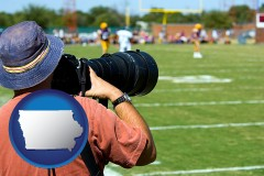 iowa map icon and a sporting event photographer