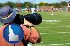 idaho map icon and a sporting event photographer