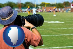 illinois map icon and a sporting event photographer