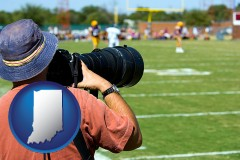 indiana map icon and a sporting event photographer