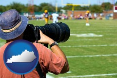 kentucky map icon and a sporting event photographer