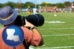louisiana map icon and a sporting event photographer