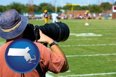 massachusetts map icon and a sporting event photographer