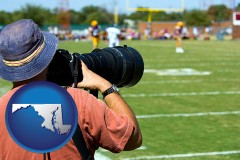 maryland map icon and a sporting event photographer