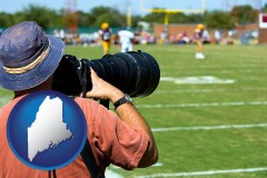 maine map icon and a sporting event photographer