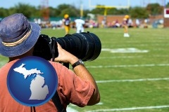 michigan map icon and a sporting event photographer