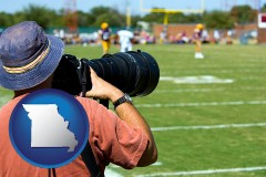 missouri map icon and a sporting event photographer