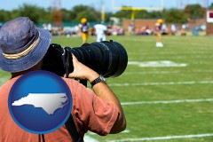 north-carolina map icon and a sporting event photographer