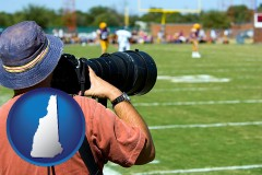 new-hampshire map icon and a sporting event photographer