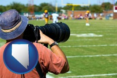 nevada map icon and a sporting event photographer