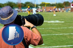 rhode-island map icon and a sporting event photographer