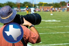 texas map icon and a sporting event photographer
