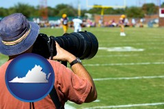 virginia map icon and a sporting event photographer