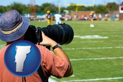 vermont map icon and a sporting event photographer