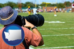 washington map icon and a sporting event photographer