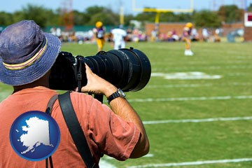a sporting event photographer - with Alaska icon