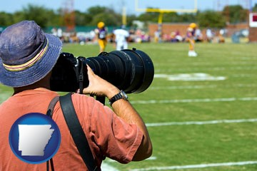 a sporting event photographer - with Arkansas icon