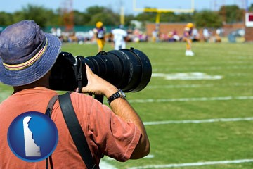 a sporting event photographer - with Delaware icon
