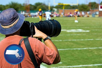 a sporting event photographer - with Massachusetts icon