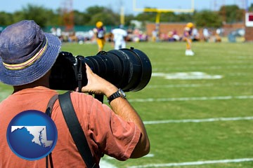 a sporting event photographer - with Maryland icon