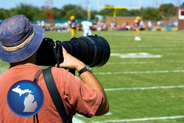 a sporting event photographer - with Michigan icon