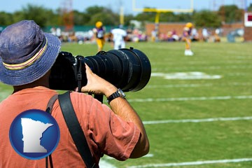 a sporting event photographer - with Minnesota icon
