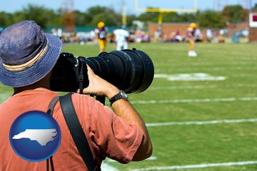a sporting event photographer - with North Carolina icon