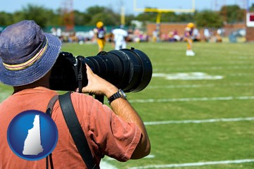 a sporting event photographer - with New Hampshire icon
