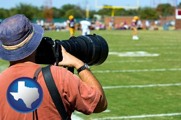 a sporting event photographer - with Texas icon