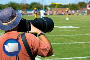 a sporting event photographer - with Washington icon