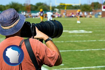 a sporting event photographer - with Wisconsin icon