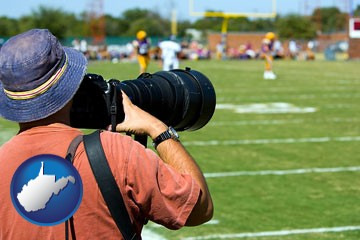 a sporting event photographer - with West Virginia icon